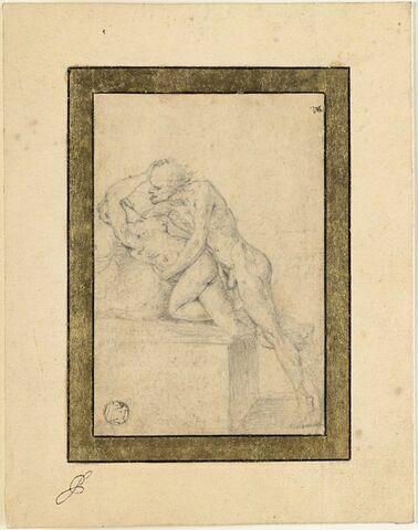 Un homme chauve, nu, voulant abuser d'une jeune femme nue, qui le repousse