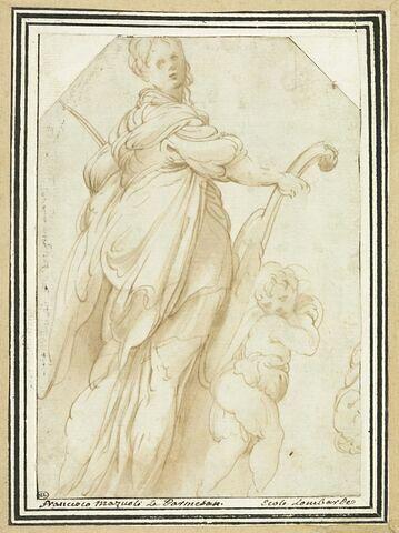 Sainte Cécile marchant en tenant son instrument, précédée par un ange
