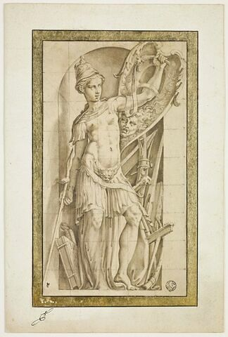 Pallas tenant un bouclier et une lance