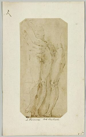 Deux hommes nus, l'un tenant le phallus en érection de l'autre
