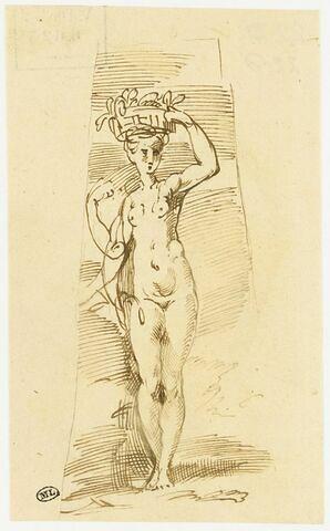 Une femme nue debout, portant une corbeille de fruits sur la tête