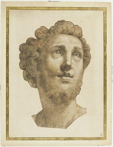 Tête de saint Roch, de trois quarts vers la droite, les yeux levés