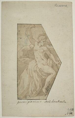 Femme nue, levant le bras