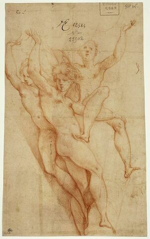 Trois adolescents nus, les bras levés, soutenant des nuages