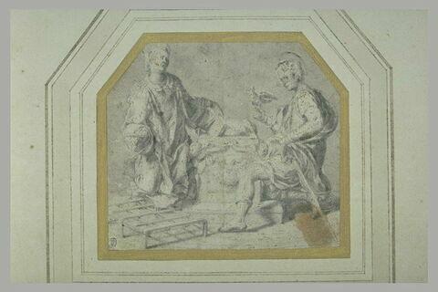 Saint Laurent et un autre saint à côté d'un sarcophage ouvert