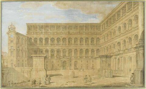 Vue de la cour du Vatican où sont situées les loges de Raphaël