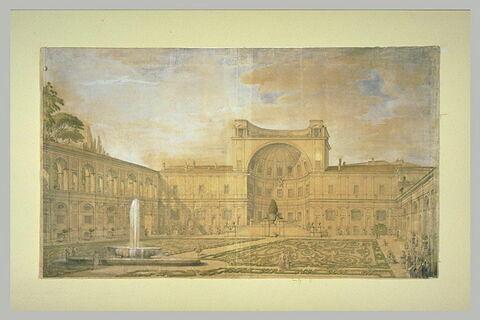 Vue du jardin du Vatican et de la pomme de pin du Mausolée d'Adrien