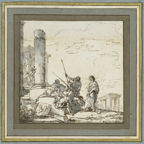 Paysage de ruines arcadien avec un apôtre préchant devant des soldats