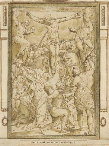 Longin donnant le coup de lance au Christ en croix entre les larrons