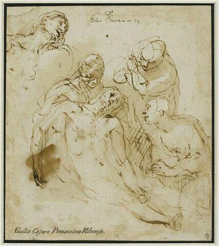 Le Christ mort entouré de quatre figures