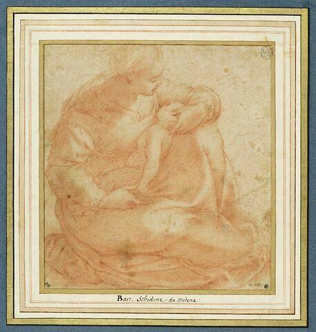 La Vierge avec l'Enfant couché sur ses genoux