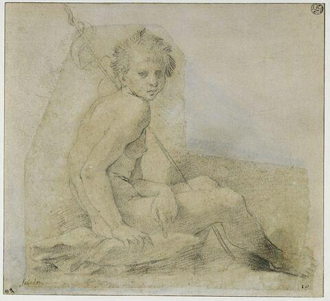 Saint Jean-Baptiste nu, assis, de profil vers la droite, la tête de face
