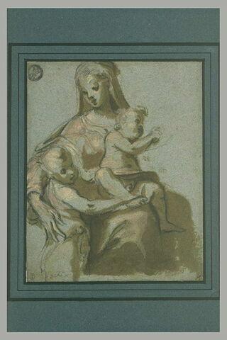 La Vierge, assise, avec l'Enfant sur ses genoux et le petit saint Jean