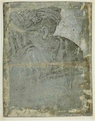 Vieil homme barbu, coiffé d'un turban, vu en buste, regardant vers la gauche