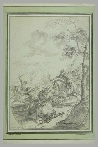 Combat de cavalerie : un soldat affronte un cavalier armé d'un pistolet