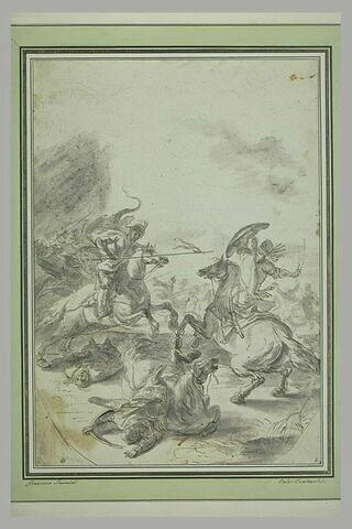 Combat de cavalerie : les cavaliers sont armés de sabre ou de lance