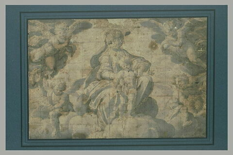 La Vierge et l'Enfant Jésus sur des nués entourés d'anges