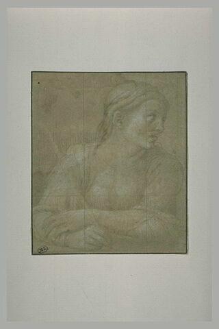 Jeune femme accoudée, écrivant