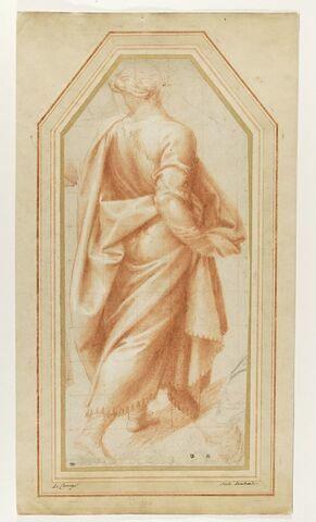 Homme drapé regardant vers la gauche, marchant vers la droite ; étude de draperie