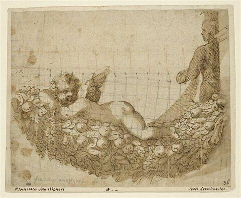 Un ange couché dans une guirlande de fruits et une autre figure de dos