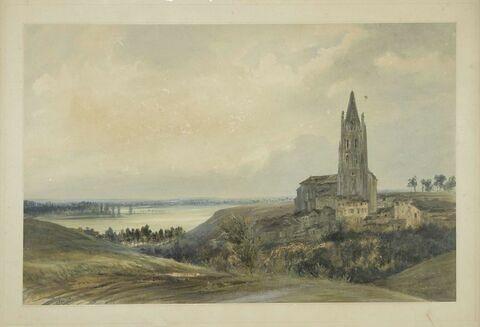 Vue de l'église et du faubourg saint Eutrope à Saintes