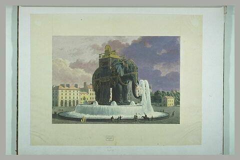 Projet de la fontaine monumentale surmontée d'un éléphant