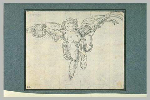 Un ange volant et plafonnant tenant une couronne d'épines et une palme