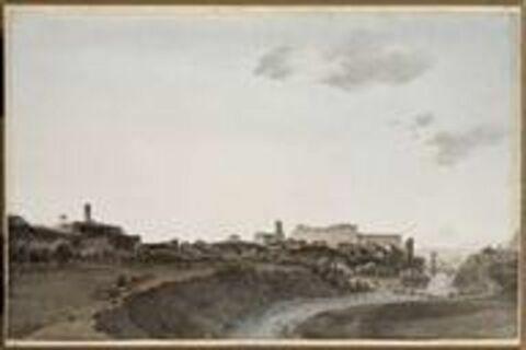 Vue de la ville de Ceva le 16 avril 1796