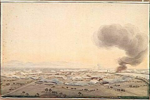 Vue du bourg d'Anghiari, rive droite de l'Adige, le 14 janvier 1797
