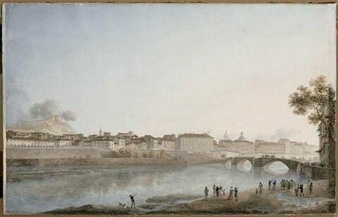 Vue de la ville et du château de Nice le 28 mars 1796