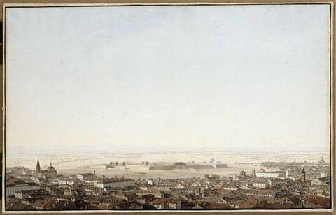 Vue de la ville et de la citadelle de Plaisance le 6 juin 1800