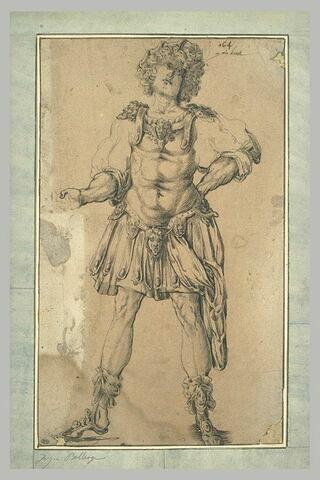 Etude d'une figure de guerrier vêtu à la romaine