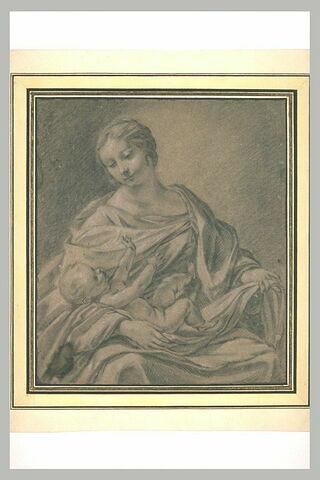 La Vierge assise avec l'Enfant couché sur ses genoux
