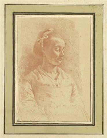 Jeune fille, en buste, de trois quarts vers la droite