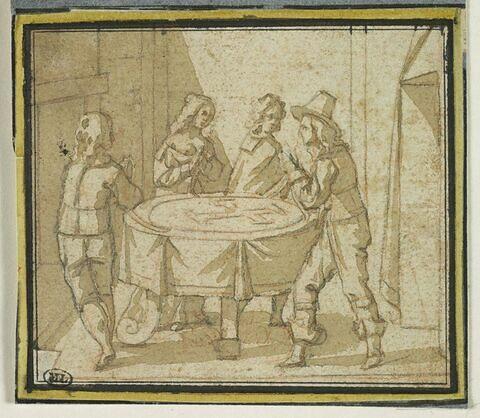 Personnages autour d'une table recouverte d'un tapis orné d'une croix maltée
