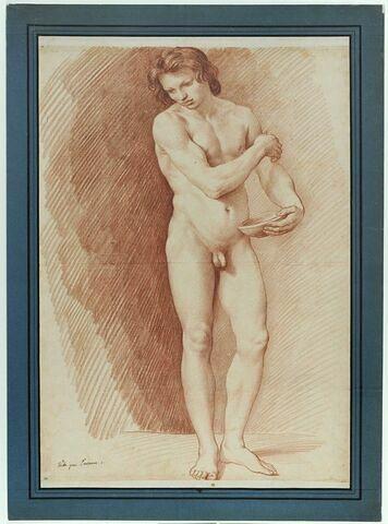 Jeune homme nu, debout, tenant une coupe
