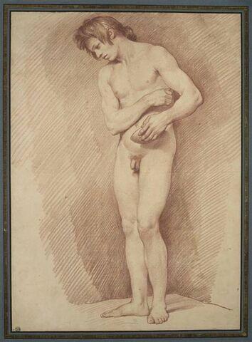 Jeune homme nu, debout, tourné vers la gauche, tenant une coupe