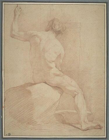 Figure nue, assise, vue de dos, le bras gauche levé