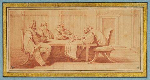Quatre des principaux chefs des Francs rédigeant la loi salique