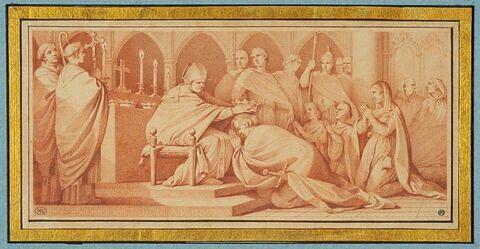 Le Pape Etienne III donnant l'onction royale à Pépin le Bref et sa famille