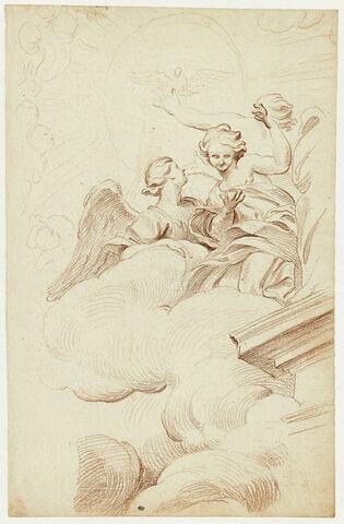 Etude de la Gloire surmontant la chaire de Saint-Pierre : Anges