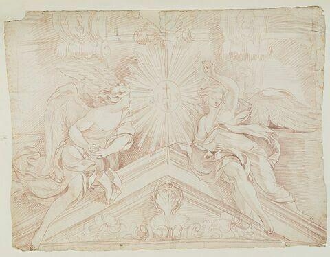 Anges sur le fronton de l'autel dédié à saint Ignace
