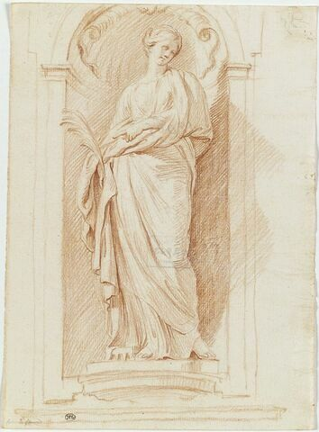 Sainte Suzanne debout dans une niche tenant une palme