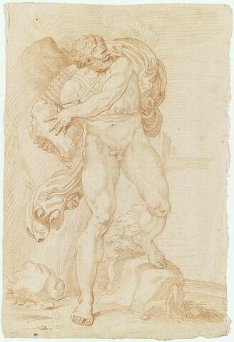 Polyphème nu, debout, lançant un rocher