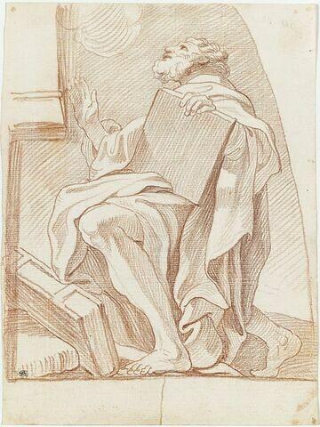 Moïse à genoux recevant les Tables de la Loi