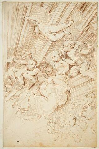 Anges parmi les nuages : fragment de la composition surmontant la chaire de Saint-Pierre