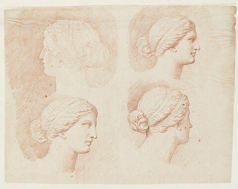 Quatre études de la tête de la Vénus du Belvédère, vue de profil à droite et de trois quarts dos