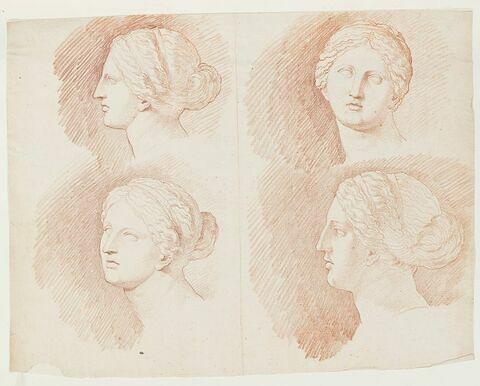 Quatre études de la tête de la Vénus du Belvédère, vue de profil à gauche, de face et de trois quarts face