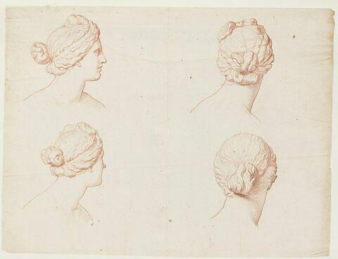 Quatre études de la tête de la Vénus Médicis, de profil à droite et de dos