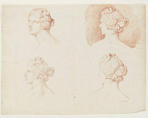 Quatre études de la tête de la Vénus Médicis, de profil à gauche, de trois quarts face et de trois quarts dos